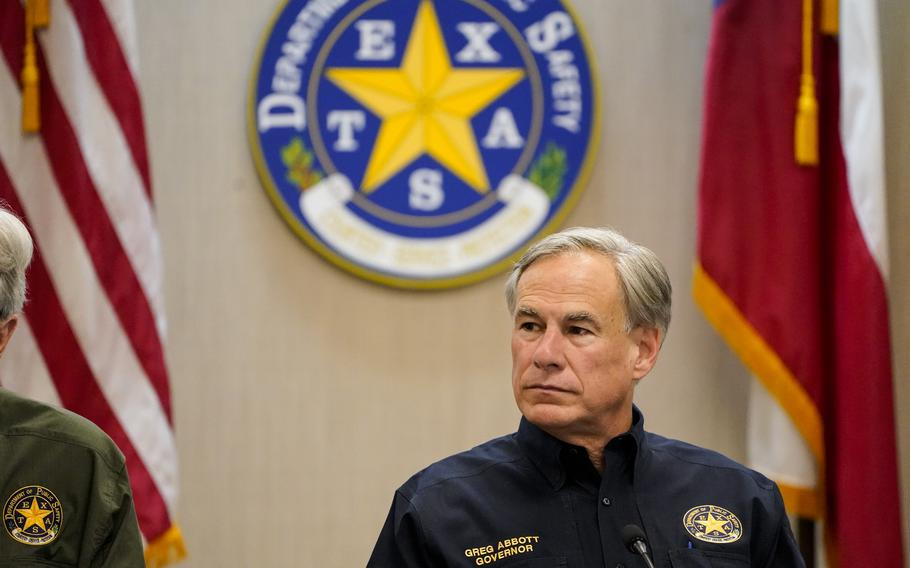 Texas Gov. Greg Abbott attends a security briefing at the Weslaco Department of Public Safety DPS Headquarters on Wednesday, June 30, 2021 in Weslaco, Texas.