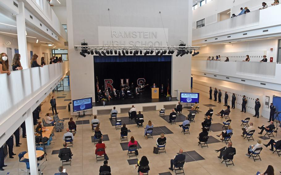 Students, staff members and guests attended a ceremonial opening at the new Ramstein High School on Tuesday, Sept. 14, 2021.