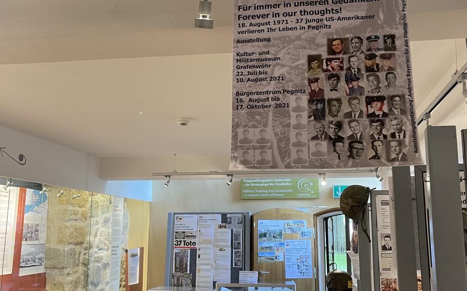 The Grafenwoehr Museum for Cultural and Military History displays an exhibit on a tragic helicopter crash in 1971 that killed 37 U.S. soldiers near Pegnitz, Germany. The exhibit will remain at Grafenwoehr through Aug. 10 before moving to Pegnitz.