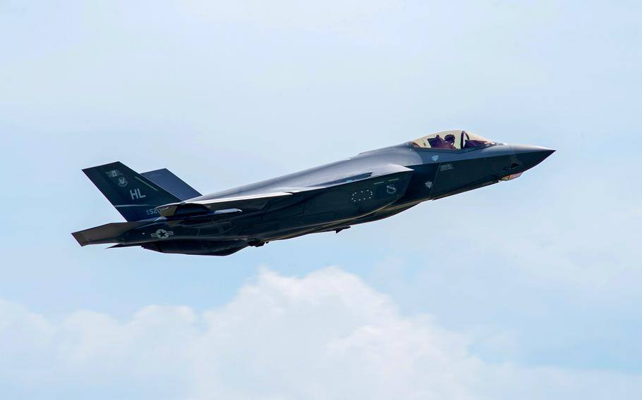 An F-35 Lightning II aircraft flies away from Spangdahlem Air Base, Germany, in 2019. The costs of the F-35 program are unsustainable, the Government Accountability Office said in a recent report.