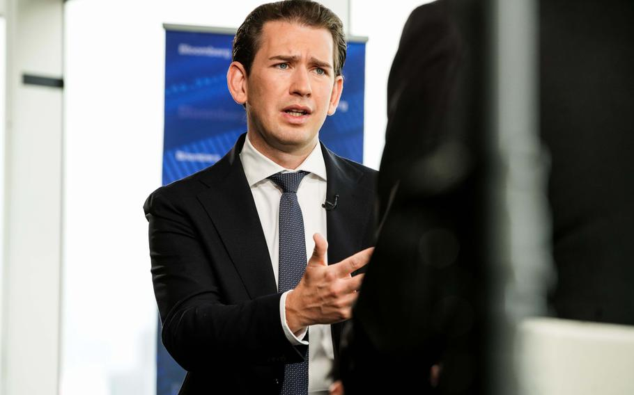 Sebastian Kurz, Austria's chancellor, speaks during a Bloomberg Television interview in New York on Sept. 22, 2021.