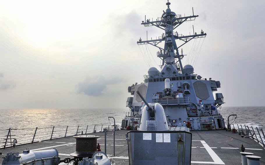 The guided-missile destroyer USS Benfold passes through the Taiwan Strait, Wednesday, July 28, 2021.