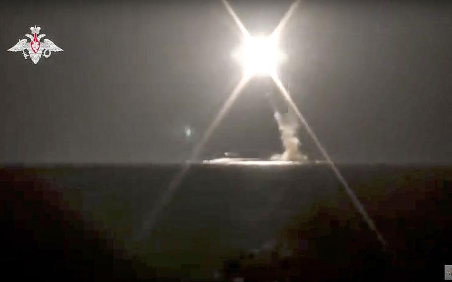In this photo taken from video distributed by Russian Defense Ministry Press Service on Monday, Oct. 4, 2021, a new Zircon hypersonic cruise missile is launched by a submarine of the Russian navy from the Barents Sea.