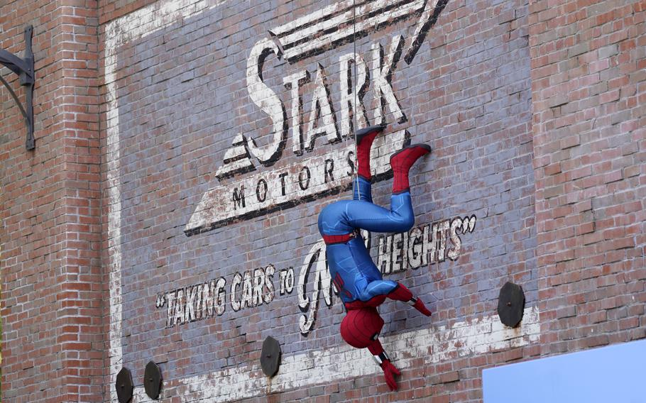 """A Spider-Man character performs June 2 during """"The Amazing Spider-Man!"""" show at the Avengers Campus media preview at Disney's California Adventure Park in Anaheim, Calif."""