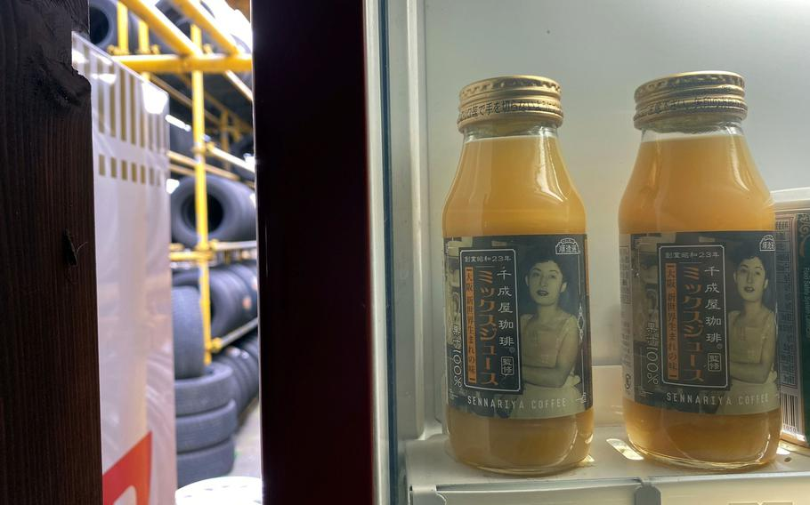 These retro-inspired bottles of mixed juice are among the scores of items for sale inside the vending machines at Used Tire Market in Sagamihara, Japan.