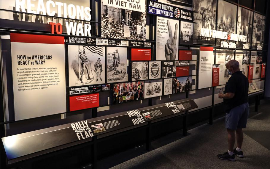 An exhibit on the public's reaction to wars at the National Museum of the United States Army on its reopening day, June 14, 2021.