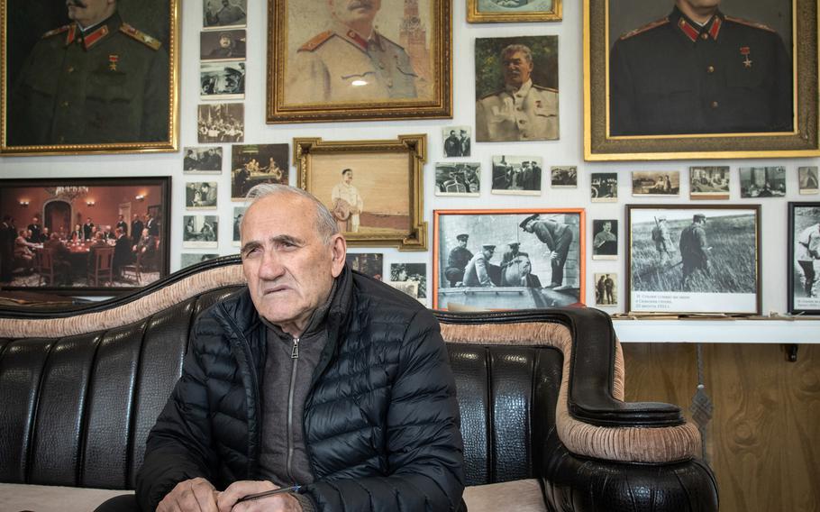 Grigori Oniani, Stalin admirer and private collector of Stalin memorabilia, at his house in Tbilisi, Georgia.