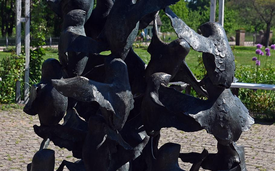 The Auffliegende Taubenschwarm, or Soaring Flock of Doves, by the sculptor Gottfried Schlotter, is one of many artworks in Rosenhoehe Park in Darmstadt, Germany.