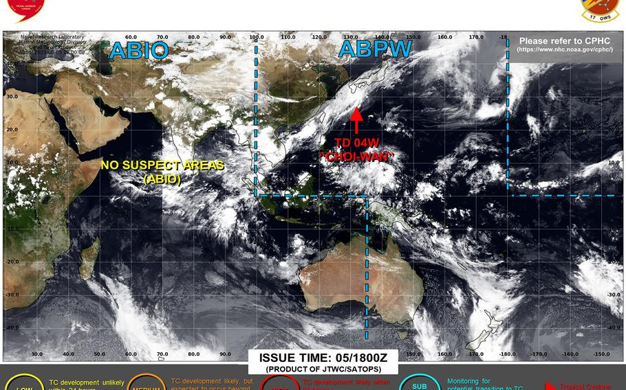 Choi-wan downgraded to tropical depression, rain remains forecast for Okinawa into mid-week.
