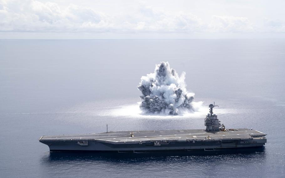 The aircraft carrier USS Gerald R. Ford completes the first scheduled explosive event of Full Ship Shock Trials while underway in the Atlantic Ocean, June 18, 2021.