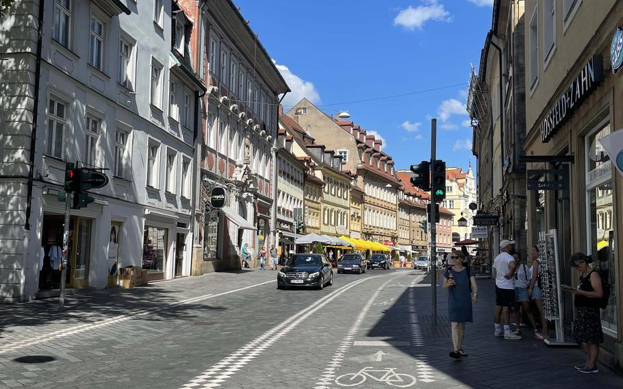 Downtown Bamberg, Germany in June 2021. Bamberg is renowned for its rauchbier, or smoked beer.