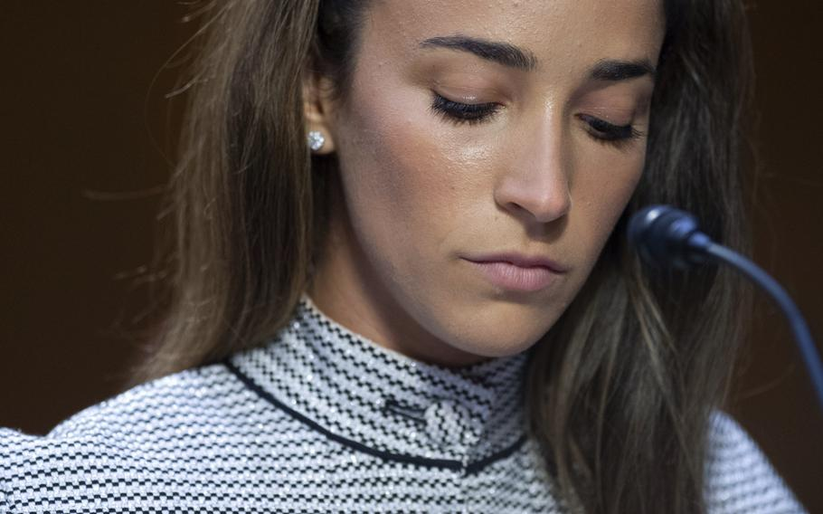 United States Olympic gymnast Aly Raisman testifies on Capitol Hill in Washington on Wednesday, Sept. 15, 2021, during a hearing about the FBI's handling of the Larry Nassar investigation. Nassar, charged in 2016 with federal child pornography offenses and sexual abuse charges in Michigan, is now serving decades in prison after hundreds of girls and women said he sexually abused them under the guise of medical treatment.