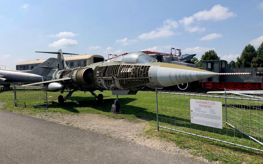 An unusual view of a stripped down Lockheed F-104 Starfighter fighter jet operated by the German Air Force during the Cold War, at the Technik Museum Speyer in Germany.