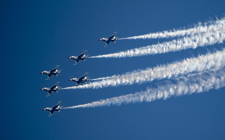 """The U.S. Air Force Air Demonstration Squadron """"Thunderbirds"""" perform at the OC Air Show in Ocean City, MD, June 16, 2018."""