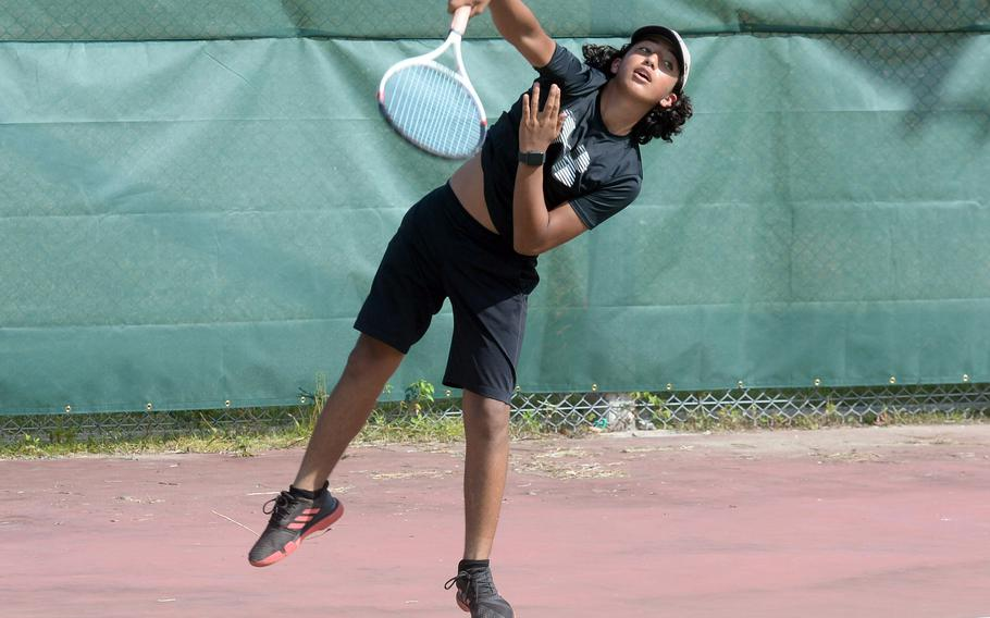 Jaden Oshana is one of five returning sophomores from last season to Kubasaki's tennis lineup.