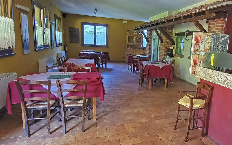 The indoor dining room at Osteria El Gaucho, in Mansue, Italy, which is about a 30-minute drive from Aviano Air Base. The restaurant features delicious pizzas as well as beef ribs, pork cutlet, chicken and Italian sausages.
