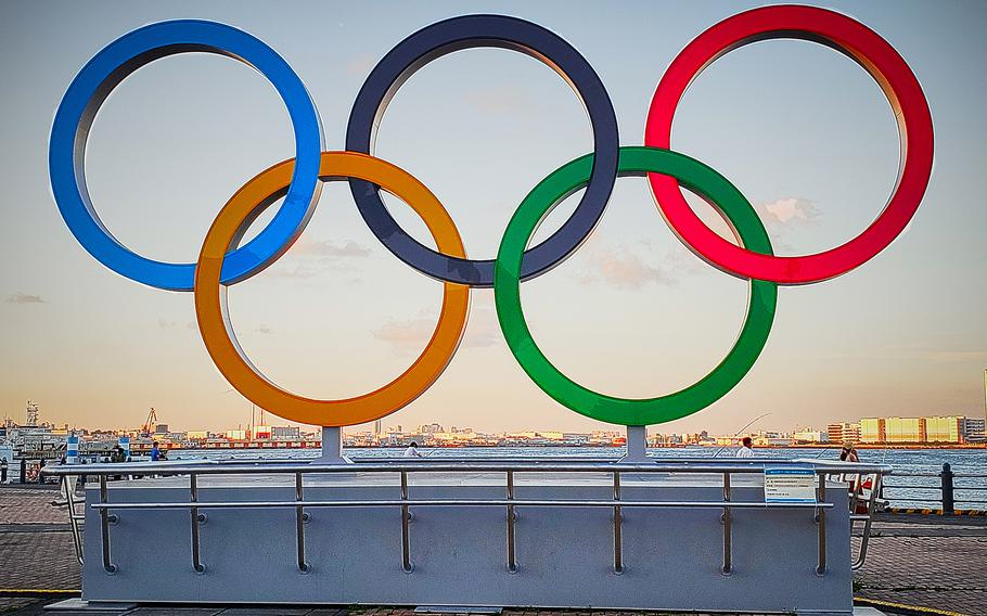 The Olympic rings are pictured this month in Yokohama, Japan. The governor of Kanagawa prefecture on Wednesday, July 21, 2021, declared a state of emergency in the cities of Yokohama, Kawasaki, Sagamihara and Atsugi effective until Aug. 22.