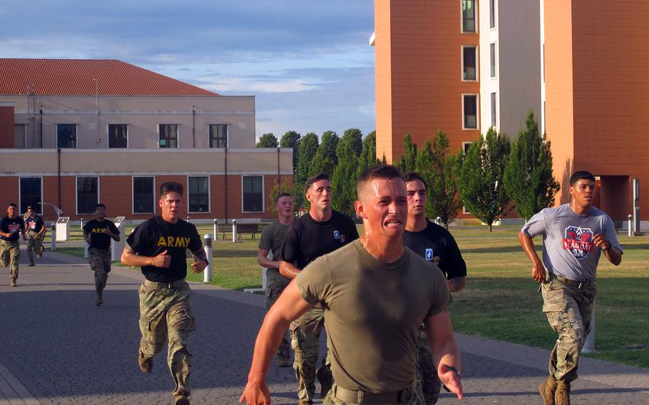 Paratroopers in the 173rd Airborne Brigade race to the finish line in a 5K memorial run Aug. 25, 2021, at Del Din in Vicenza, Italy. The run was held to honor 1st Lt. Derek Hines, who was killed in action in Afghanistan in 2005.