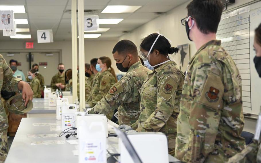 Airmen assigned to Task Force-Holloman prepare an in-processing line in support of Operation Allies Welcome, Aug. 31, 2021, on Holloman Air Force Base, N.M.