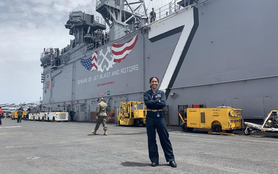 Ensign Regine Tugade-Watson, 23, who trained for the Olympics by sprinting across the deck of a warship on patrol in the Atlantic Ocean, is set to race the world's fastest women in Japan.