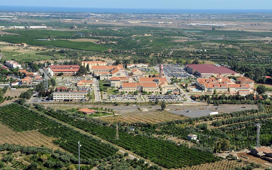 A bird's-eye view of NAS I, one of two sites of Naval Air Station Sigonella in eastern Sicily. In response to four traffic-related deaths in the last 14 months, Sigonella is upping traffic patrols and putting renewed focus on making sure driving regulations are enforced.