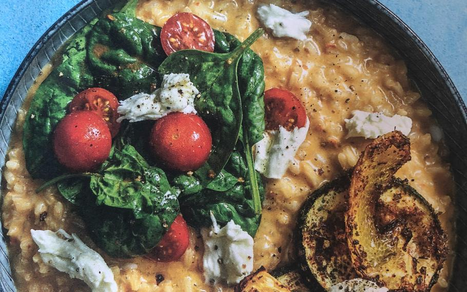 The photo on Hello Fresh's recipe card for the antipasti bowl with mozzarella cheese, with risotto, spinach and red peppers, shows what the dish should look like.