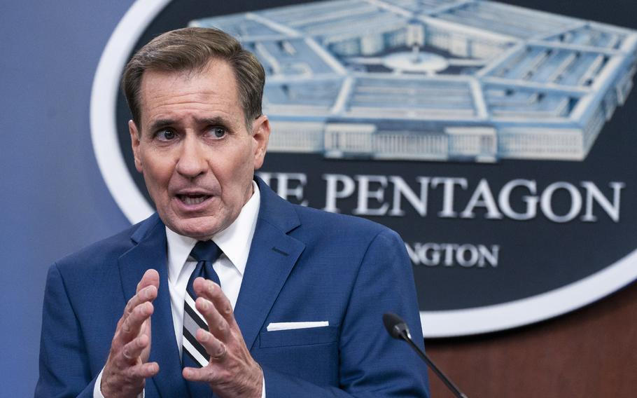 Pentagon spokesman John Kirby, speaks about the situation in Afghanistan during a briefing at the Pentagon in Washington, Tuesday, Aug. 24, 2021.