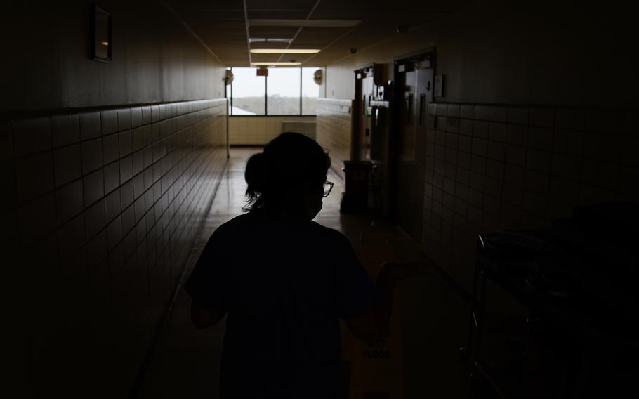 Jana Semere, Chief nursing officer at Leonard J. Chabert Medical Center in Houma, La., walks down a hallway at the hospital on Sept. 3, 2021, in the recently reopened emergency room in the aftermath of Hurricane Ida. The hospital evacuated patients and had to close due to the hurricane.