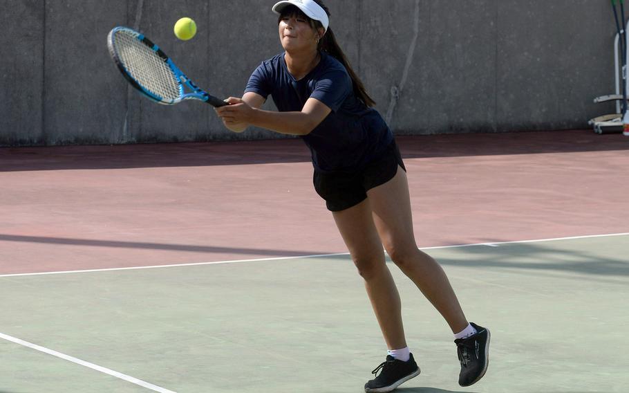 Noemi Ung is one of five returning sophomores from last season to Kubasaki's tennis lineup.