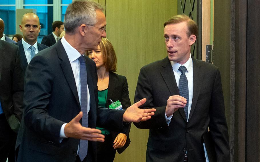 NATO Secretary-General Jens Stoltenberg with U.S. national security adviser Jake Sullivan, before a meeting with allied national security advisers at NATO headquarters in Brussels, Oct. 7, 2021.