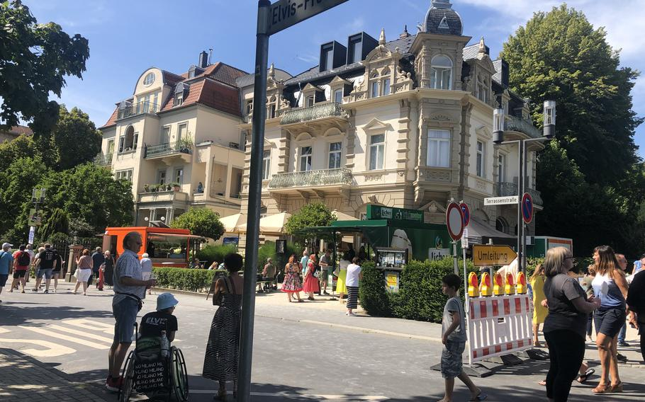 Hotel Villa Grunewald overlooks Elvis-Presley-Platz in Bad Nauheim, Germany, Aug. 15, 2021. Elvis Presley stayed briefly in the hotel when he arrived in Germany in 1958 to do 18 months of military service.