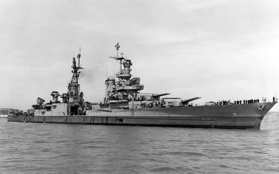 The USS Indianapolis off of Mare Island on July 10, 1945.