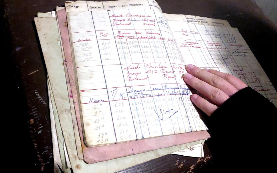 A logbook in the barracks at the Simserhof fortification in France annotates water pressure and electrical output in the underground complex. The Maginot Line fortification produced its own power and ran air filters 24 hours a day.