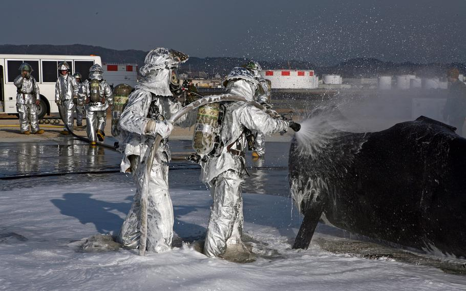 The Marine Corps on Okinawa has replaced firefighting foam known to contain harmful contaminants with a more environmentally friendly version.