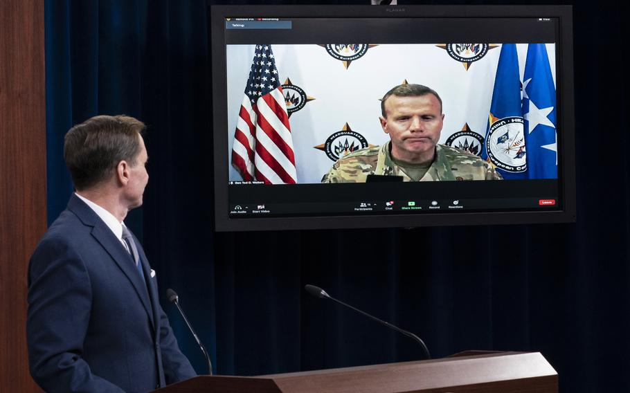 Pentagon spokesman John Kirby listens during a media briefing at the Pentagon, Thursday, Sept. 2, 2021, in Washington. Kirby is joined by U.S. Air Force Gen. Tod Wolters, commander, U.S. European Command and NATO's Supreme Allied Commander Europe, via video conference.
