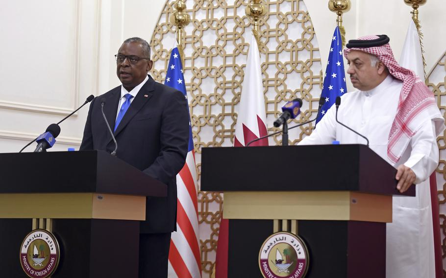 U.S. Secretary of Defense Lloyd Austin speaks during a joint news conference with U.S. Secretary of State Antony Blinken, Qatari Deputy Prime Minister and Foreign Minister Mohammed bin Abdulrahman al-Thani, and Qatari Defense Minister Khalid Bin Mohammed Al-Attiyah,  right, at the Ministry of Foreign Affairs in Doha, Qatar, Tuesday, Sept. 7, 2021.