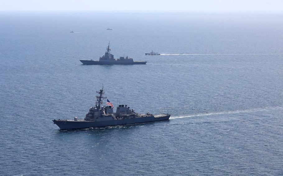 Ships sail the Black Sea in July 2020 during the annual Sea Breeze exercise. Sea Breeze 2021 begins June 28, with Russia threatening possible military repercussions.