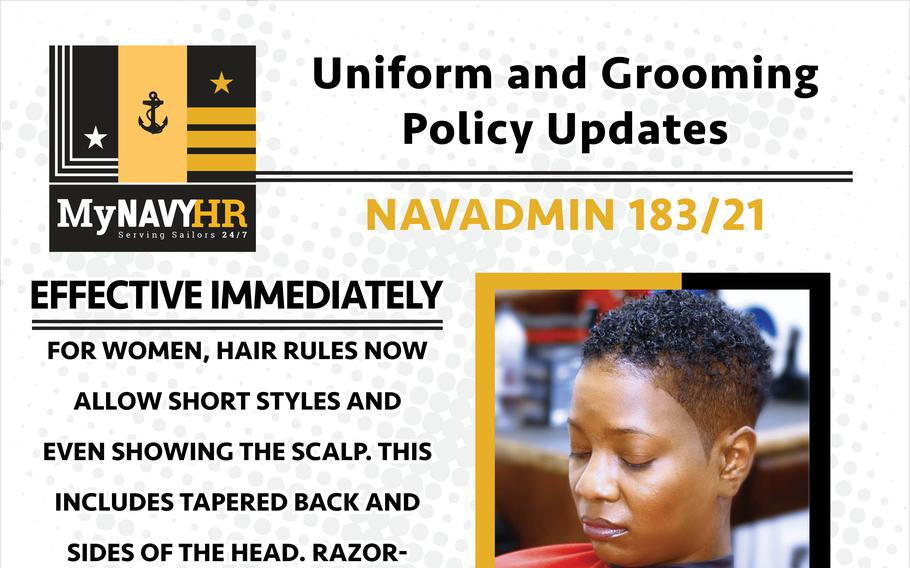 """The Navy grooming policy for women was updated to allow """"very short hair styles"""" that show the scalp."""