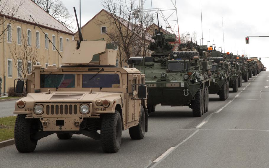 A convoy of 2nd Cavalry Regiment vehicles parade through Rose Barracks in Vilseck, Germany in 2015. Europeans, especially Germans, favor U.S. involvement in European security matters, according to a German Marshall Fund poll released June 7, 2021.