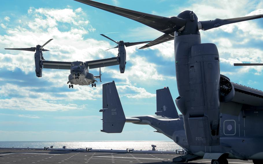 A CV-22 Osprey lands on the flight deck of JS Kaga, a Japan Maritime Self-Defense Force helicopter carrier, during last year's annual Keen Sword exercise in Japan.
