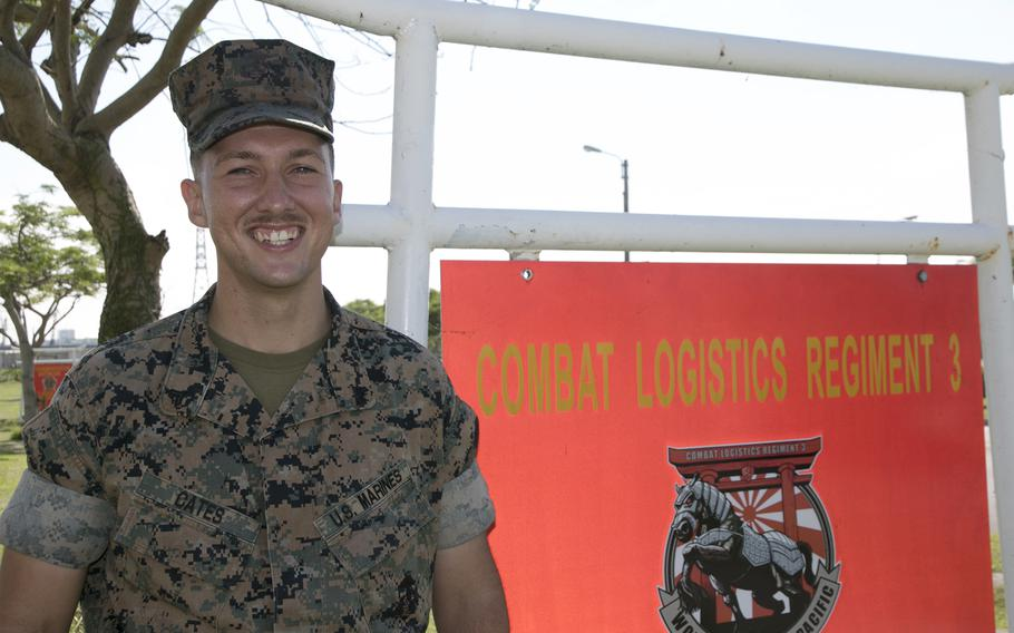 Marine Cpl. James Cates, 24, of Combat Logistics Regiment 3 at Camp Foster, Okinawa, may be awarded for saving a fellow Marine stuck in a rip current off the northern tip of the island.