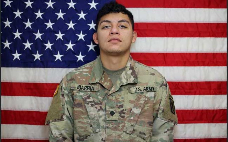 Spc. Vincent S. Ibarria, 21, died on July 3, 2020, in a vehicle rollover accident in western Farah province.   U.S. Army