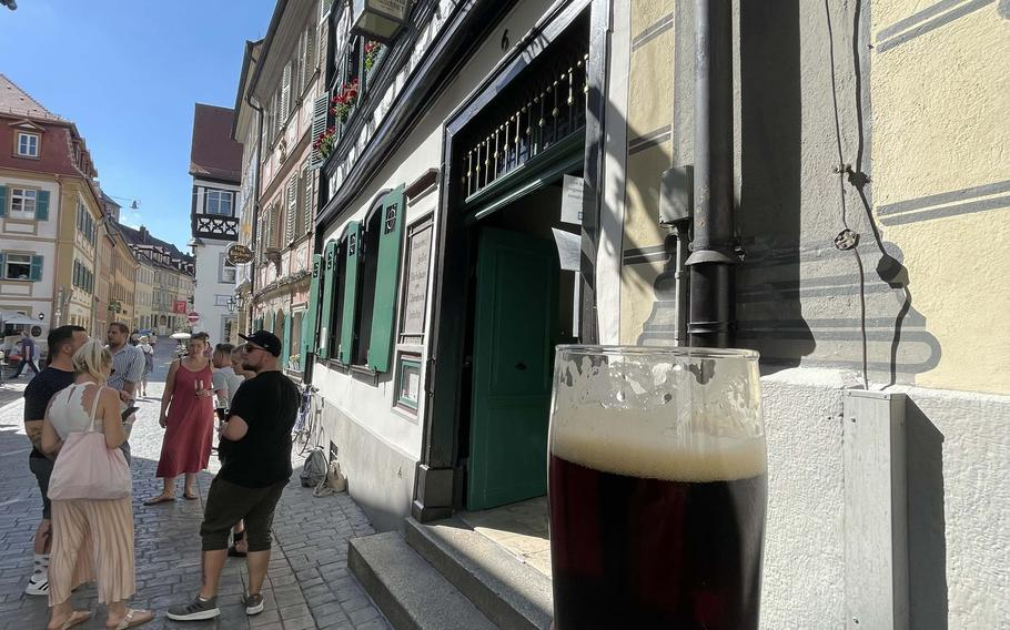 Outside of the Schlenkerla brewery on June 21, 2021 in Bamberg, Germany. Bamberg is renowned for its rauchbier, or smoked beer, with its distinct flavor.