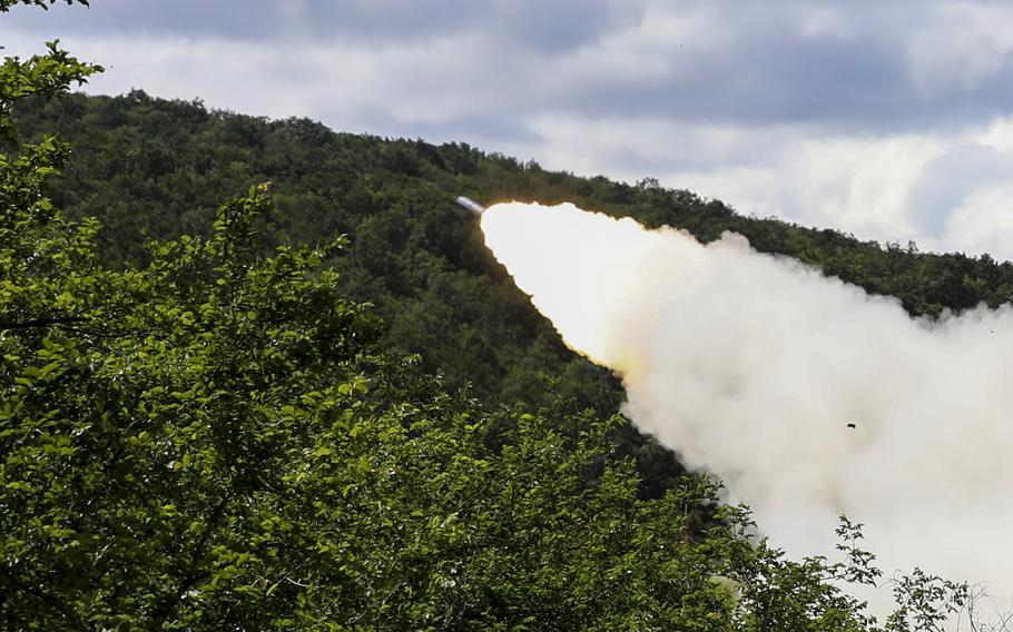 A rocket flies over a range at  Novo Selo, Bulgaria, June 1, 2021. U.S. soldiers assigned to 1st Battalion, 77th Field Artillery Regiment, 41st Field Artillery Brigade flew in from Germany that morning with their artillery for the live-fire exercise.