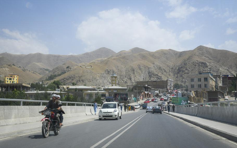 Residents drive across a newly constructed bridge July 15, 2019, along one of the main roads of Faizabad, the provincial capital of remote Badakhshan province. The city was once a stronghold against the Taliban but has fallen to the militant group, officials said Aug. 11, 2021.