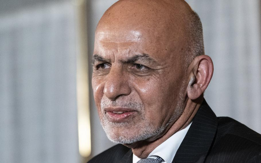 Afghan President Ashraf Ghani speaks during a media availability after his meeting with President Joe Biden in Washington, Friday, June 25, 2021.