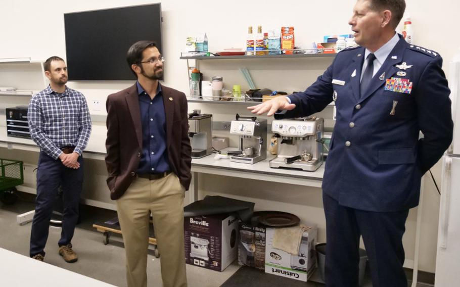 Gen. David Thompson, second in command of U.S. Space Force, chats with students while visiting the Aerospace program at the University of Colorado Boulder.