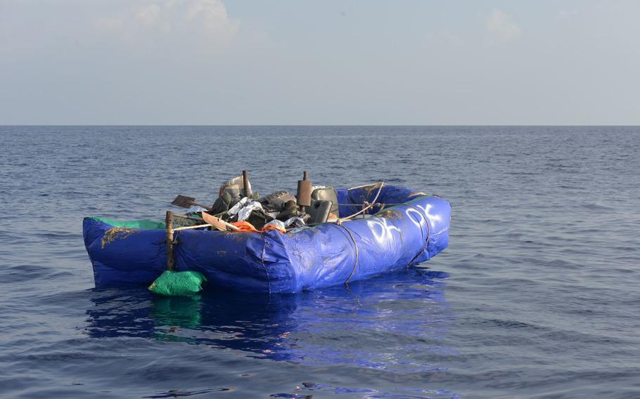 The Coast Guard interdicted 13 Cuban migrants from an inflatable raft approximately 61 miles south of Key West, Florida, Sep. 1, 2021. The U.S. Coast Guard Cutter Raymond Evans' (WPC-1110) crew repatriated the migrants to Cuba, Sep. 4, 2021.