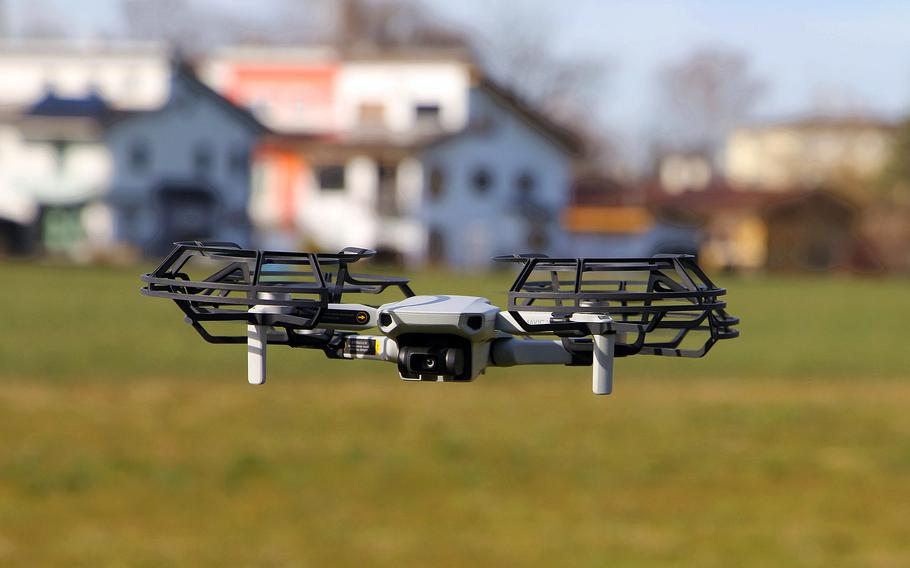 A quadcopter drone in flight. Technology developed by the U.S. and U.K. and put into use in October 2020 detected 50 violations in nine months of the airspace above RAF Mildenhalll and nearby RAF Lakenheath by small drones.
