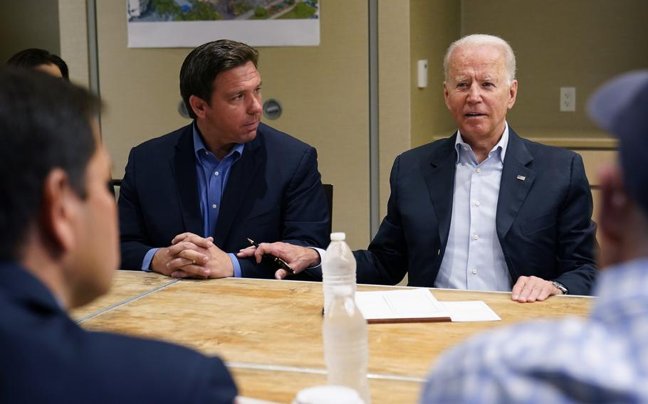 President Joe Biden attends a briefing in Miami Beach, Florida, with Gov. Ron DeSantis, on Thursday, July 1, 2021, as they discussed the collapsed condo tower in Surfside.